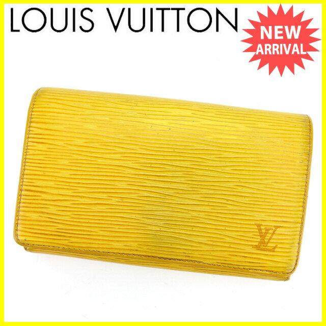 【中古】 ルイ ヴィトン Louis Vuitton L字ファスナー財布 二つ折り財布 メンズ可 ポルトモネビエトレゾール エピ タッシリイエロー エピレザー 人気 L1258