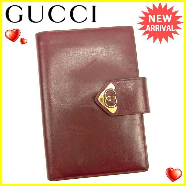 【中古】 グッチ Gucci 手帳カバー 2つ折り札入れ レディース メンズ 可 ボルドー キャンバス×レザー 人気 Y6193