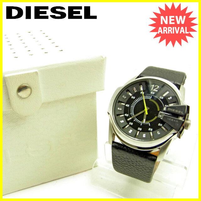 【20%OFF】 【楽天スーパーSALE】 【中古】 ディーゼル DIESEL 腕時計 アクセサリー メンズ ブラック×シルバー レザー×シルバー素材 良品 Y6257