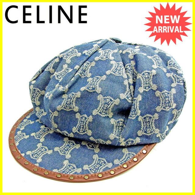【お買い物マラソン】 【中古】 セリーヌ 帽子 キャスケット Celine デニム×ブラウン L1549s .