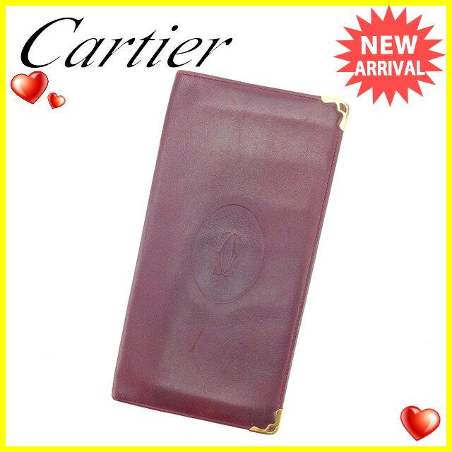 【お買い物マラソン】 【中古】 カルティエ 長札入れ Cartier ボルドー×ゴールド G1140s .