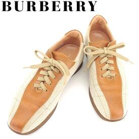 【中古】 バーバリー BURBERRY スニーカー シューズ 靴 メンズ #24 ライトブラウン ベージュ キャンバス×レザー G1313