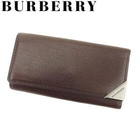 【中古】 バーバリー BURBERRY キーケース 4連キーケース メンズ ブラウン ブラック レザー Q463