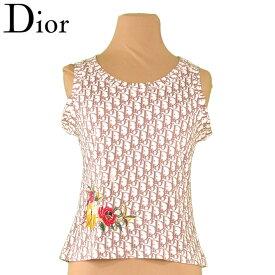 【中古】 ディオール Dior タンクトップ フラワー刺繍入り レディース ♯USA6サイズ ブラウン ホワイト 白系 コットン 綿 T9567