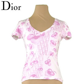 【中古】 ディオール Dior Tシャツ 半袖 カットソー レディース ♯USA6サイズ ピンク ホワイト 白 コットン 綿 T9568