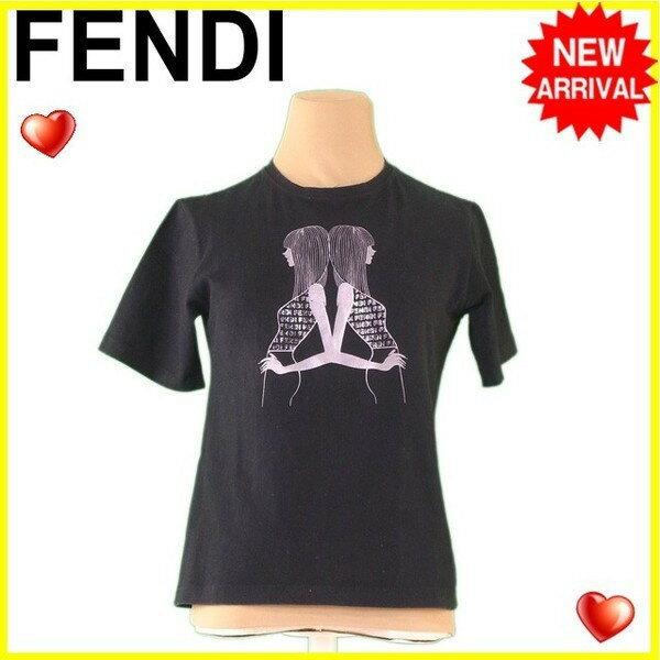 【お買い物マラソン】 【中古】 フェンディジーンズ FENDI jeans Tシャツ レディース ガールプリント ブラック×グレー C/100% 人気 L2246