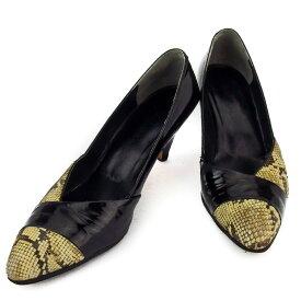【中古】 シャルル ジョルダン パンプス シューズ 靴 レディース パイソン ブラック ベージュ レザー CHARLES JOURDAN E1572 ブランド