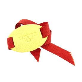 【中古】 ロエベ LOEWE ブレスレット リボン レディース ロゴ ベージュ×ダークオレンジ レザー A1051 .