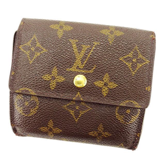 【中古】 ルイ ヴィトン Louis Vuitton Wホック財布 財布 三つ折り ブラウン ポルトモネビエカルトクレディ モノグラム レディース メンズ 可 A1563s