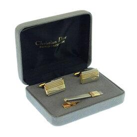 【中古】 クリスチャン・ディオール Christian Dior タイピン カフス メンズ 2アイテムセット ロゴ ゴールド×シルバー ゴールド&シルバー素材 A603 .