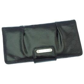 【中古】 セリーヌ 長財布 さいふ ファスナー 二つ折り ロゴプレート付き シャドウマカダム ブラック×シルバー CELINE A873