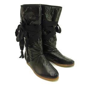 【中古】 シーバイクロエ SEE BY CHLOE ブーツ シューズ 靴 レディース ♯38 ミドル丈 レースアップ ブラック ナイロン×ラバー C1457 .