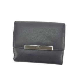 【ポイント還元】 【10倍】 【中古】 グッチ Wホック財布 さいふ 二つ折り コンパクトサイズ ロゴプレート ブラック×シルバー GUCCI C1870