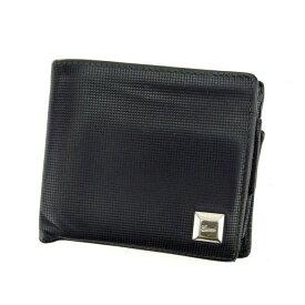 【ポイント還元】 【10倍】 【中古】 グッチ 二つ折り財布 さいふ ロゴプレート ブラック×シルバー GUCCI C2207