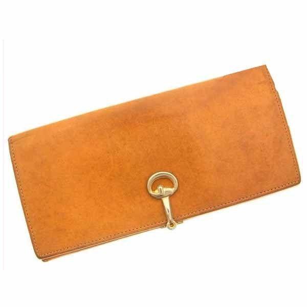 【中古】 グッチ Gucci 長財布 財布 キャメル×ゴールドカラー ホースビット金具 レディース C248s