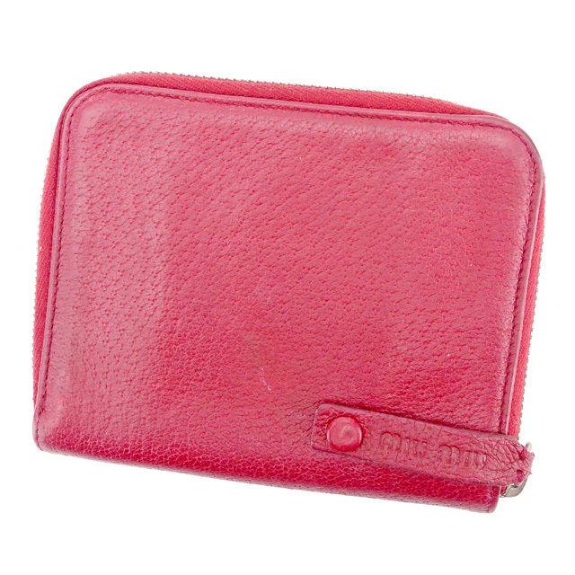 【中古】 ミュウミュウ Miu Miu ラウンドファスナー財布 財布 二つ折り財布 財布 財布 財布 メンズ可 C2857s