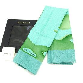 【中古】 ブルガリ BVLGARI スカーフ 大判サイズ ファッションアイテム メンズ可 ツリーモチーフ柄 ブルー×グリーン系 SILK 100% 未使用 D1389 .