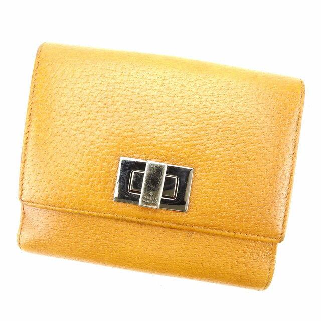 【中古】 グッチ GUCCI Wホック財布 二つ折り財布 ターンロック キャメル×ブラックシルバー レザー D1556