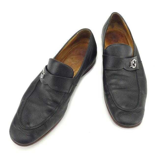 【中古】 グッチ GUCCI ローファー シューズ 靴 メンズ インターロッキングG ダブルG ブラック×シルバー レザー 人気 D1659 .