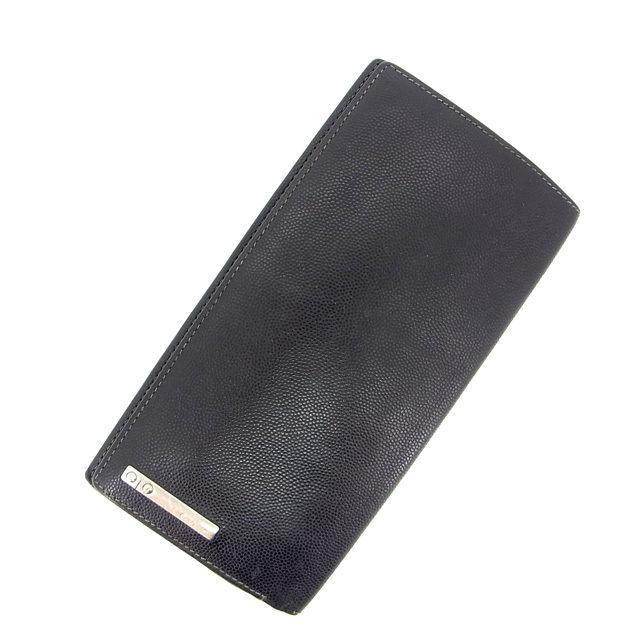 【中古】 (・ ) カルティエ Cartier 長財布 メンズ可 ブラック レザー D957 .