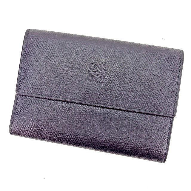 【楽天スーパーSALE】 【20%オフ】 【中古】 ロエベ LOEWE 三つ折り財布 財布 メンズ可 ブラック レザー 人気 良品 E1182