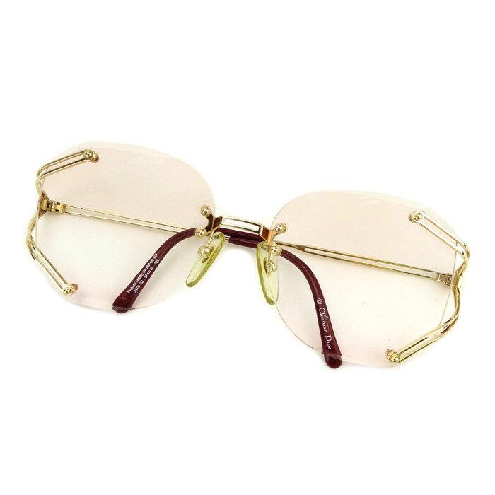 【中古】 ディオール Dior サングラス レディース ゴールド×ピンク×ボルドー プラスティック 人気 E1221 .