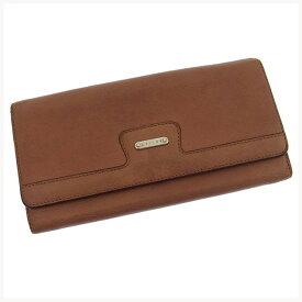 【中古】 セリーヌ 長財布 さいふ ファスナー 二つ折り ロゴプレート レッドブラウン×シルバー CELINE E545