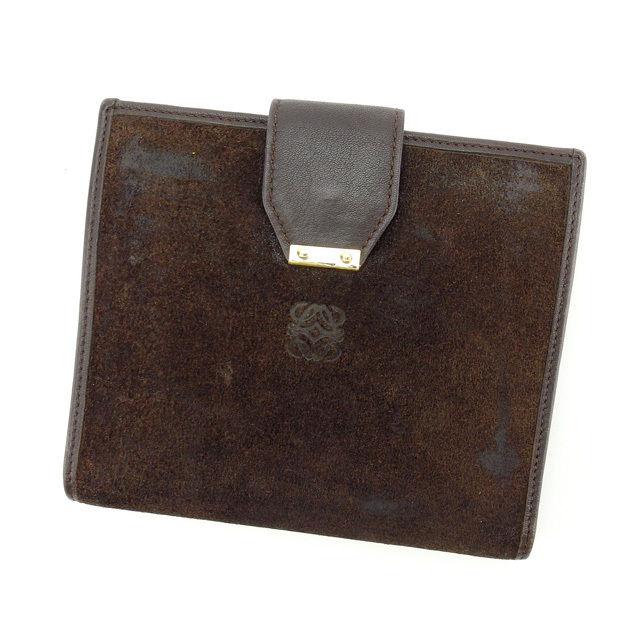 【中古】 ロエベ Loewe 二つ折り財布 財布 ブラウン レディース E913s .