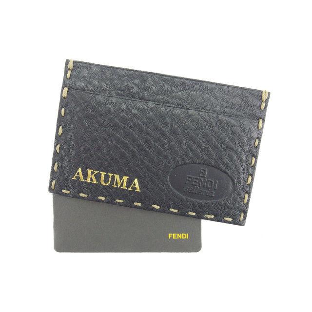 【中古】 フェンディ FENDI 名刺入れ カードケース メンズ可 ブラック レザー E944 .