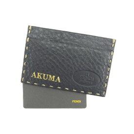 【中古】 フェンディ FENDI 名刺入れ カードケース カード レディース ブラック E944 ブランド