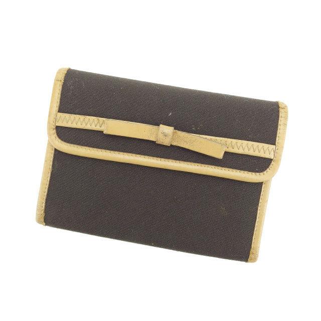 【中古】 ミュウミュウ Miu Miu 三つ折り財布 財布 ブラウン×ベージュ リボン レディース E950s
