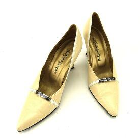 【中古】 サンローラン SAINT LAURENT パンプス シューズ 靴 レディース ♯36ハーフ ポインテッドトゥ ロゴプレート ベージュ×ホワイト×シルバー レザー F1178 .