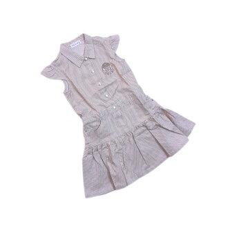 Celine CELINE dress flare silhouette Lady's kids 120A size stripe X embroidery beige X white X silver quality goods popularity F1309.