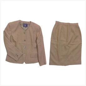 【中古】 バーバリー BURBERRY スーツ セットアップ レディース シングルジャケット×タイトスカート ライトブラウン F1313 .