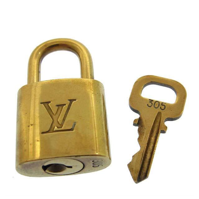 【中古】 ルイヴィトン Louis Vuitton パドロックメンズ可パドロック ロゴ ゴールドカラー 真鋳 F220 .
