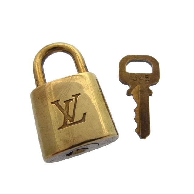 【中古】 ルイヴィトン Louis Vuitton カデナ&キーキーリング メンズ可パドロック ロゴ ゴールドカラー 真鋳 F357 .