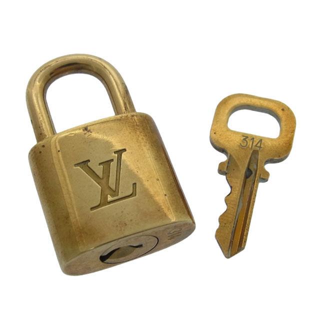 【中古】 ルイヴィトン Louis Vuitton カデナ&キーキーリング メンズ可パドロック ロゴ ゴールドカラー 真鋳 F361 .