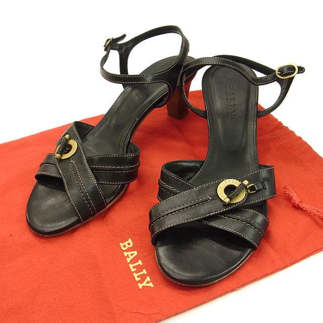 【中古】 バリー BALLY サンダル ミュール 靴 レディース ♯[36EU 5・1 2US] クロスデザイン ロゴ ブラック×ゴールド レザー F568