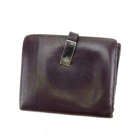 【中古】 グッチ Wホック財布 さいふ 二つ折り財布 さいふ ロゴプレート ダークブラウン×シルバー GUCCI G1012