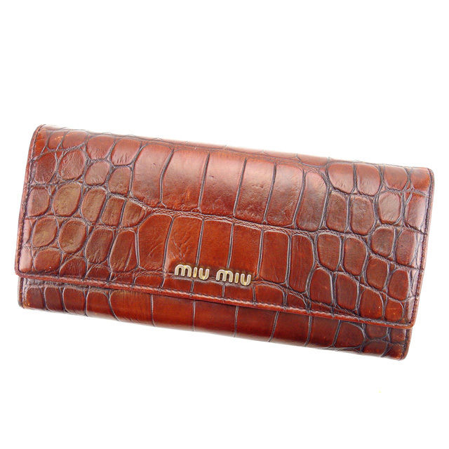 【中古】 ミュウミュウ miumiu 長財布 ファスナー付き長財布 レディース クロコダイル調 ブラウン×ゴールド 型押しレザー G1016
