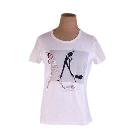 【中古】 セリーヌ Celine Tシャツ カットソー ホワイト系 ♯Lサイズ 半袖 ガールプリント レディース G1182s .