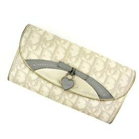 【残り1点】 【送料無料】 【中古】 クリスチャン ディオール 長財布 トロッター ホワイト×グレー Christian Dior 【ディオール】 G435