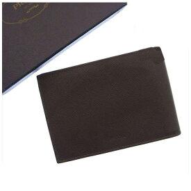 【中古】 プラダ PRADA 二つ折り財布メンズ可 ロゴ ブラウン レザー H018 .