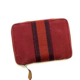 【中古】 エルメス Hermes 二つ折り財布 財布 ラウンドファスナー レッド×パープル パースPM フールトゥ メンズ H113s
