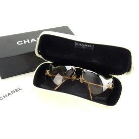 【中古】 シャネル CHANEL サングラス メガネ メンズ可 ラインストーン付き ティアドロップ型 ココマーク 4108-B c125 8Z クリアベージュ×ゴールド プラスティック×ゴールド金具 H294 .