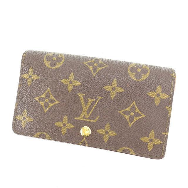 【中古】 ルイ ヴィトン Louis Vuitton L字ファスナー財布 二つ折り財布 メンズ可 ポルトモネビエトレゾール モノグラム ブラウン モノグラムキャンバス 人気 K428 .