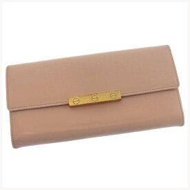8b161a01edeb 【中古】 カルティエ Cartier 長財布 財布 ファスナー 二つ折り ライトピンク×ゴールド ラブコレクション
