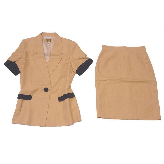 【中古】 フェンディ FENDI スーツ タイトスカート セットアップ レディース 半袖テーラージャケット バイカラー キャメル×ブラック VS/52%Linen/48%(裏地)Acetato/60%CP/40% (あす楽対応)良品 即納 L431 .