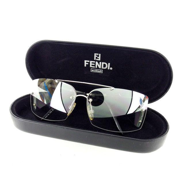 【中古】 フェンディ FENDI サングラス メガネ メンズ可 サイドFモチーフ付き 7398 68 クリアグレー×シルバー×ブラック プラスティック×シルバー金具 (あす楽対応)人気 L622