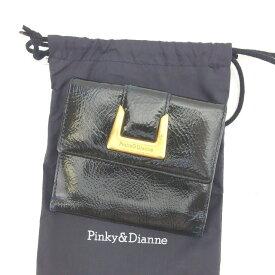 【中古】 ピンキー&ダイアン 二つ折り財布 Wホック財布 Francesco Biasia ブラック×ゴールド系 L775s .